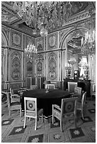 Room with meeting table inside Chateau de Fontainebleau. France (black and white)