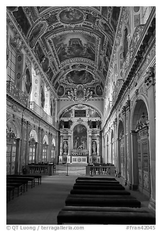 Chapel of the Trinity, palace of Fontainebleau. France (black and white)