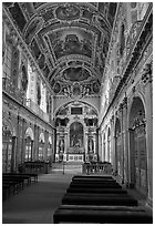 Chapel of the Trinity, palace of Fontainebleau. France ( black and white)