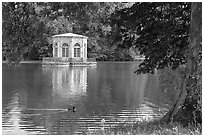 Pavillion and Etang des Carpes, Fontainebleau Palace. France (black and white)