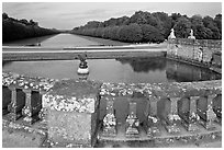 Basin and canal, Chateau de Fontainebleau park. France ( black and white)