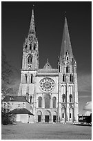 Flamboyant and pyramidal spires, Chartres Cathedral. France (black and white)