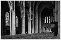 Interior of Chartres Cathedral. France (black and white)