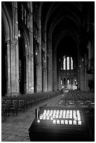 Candles, nave, and apse, Cathedral of Our Lady of Chartres,. France ( black and white)