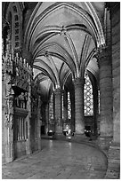 Ambulatory, Cathedrale Notre-Dame de Chartres. France (black and white)