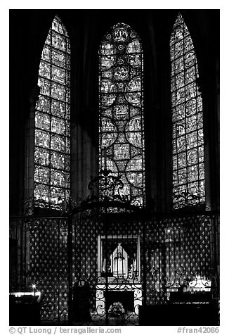 Chapel and stained glass windows, Chartres Cathedral. France (black and white)