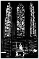 Chapel and stained glass windows, Chartres Cathedral. France ( black and white)