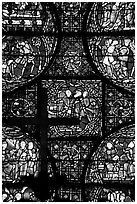 Stained glass window close-up, Cathedral of Our Lady of Chartres. France ( black and white)