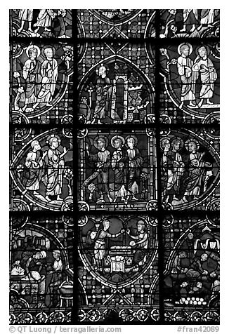 Detail of stained glass window, Chartres Cathedral. France (black and white)