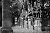 Sanctuary and Aisle, Cathedral of Our Lady of Chartres,. France ( black and white)