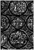 Stained glass window motif, Cathedral of Our Lady of Chartres. France (black and white)