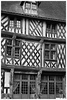 Facade of medieval half-timbered house, Chartres. France (black and white)