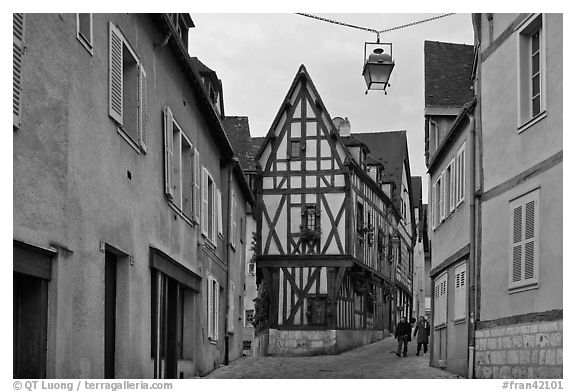 Street and half-timbered house, Chartres. France (black and white)