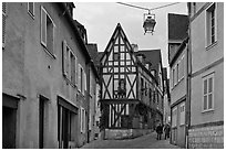 Street and half-timbered house, Chartres. France ( black and white)
