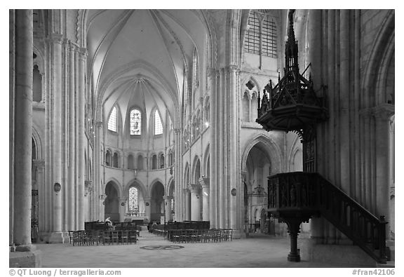 Interior of  Saint Quiriace Collegiate Church, Provins. France (black and white)