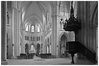 Interior of  Saint Quiriace Collegiate Church, Provins. France ( black and white)