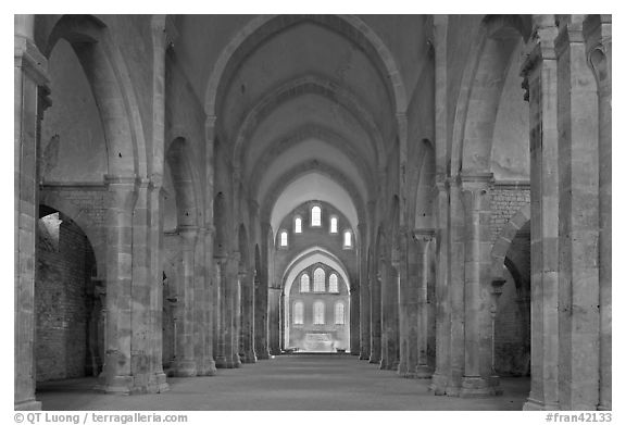Church nave, Fontenay Abbey. Burgundy, France (black and white)