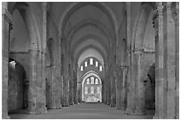 Church nave, Fontenay Abbey. Burgundy, France ( black and white)