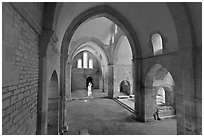 Church transept, Cistercian Abbey of Fontenay. Burgundy, France (black and white)