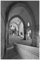 Church interior, Abbaye de Fontenay. Burgundy, France ( black and white)