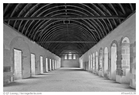 Dormitory, Cistercian Abbey of Fontenay. Burgundy, France (black and white)