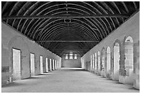 Dormitory, Cistercian Abbey of Fontenay. Burgundy, France ( black and white)