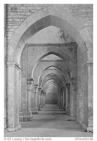 Row of arches, Abbaye de Fontenay. Burgundy, France (black and white)