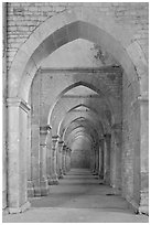 Row of arches, Abbaye de Fontenay. Burgundy, France ( black and white)