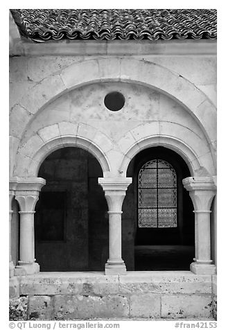 Arches, common room, Fontenay Abbey. Burgundy, France (black and white)