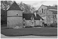 Dovecote, Cistercian Abbey of Fontenay. Burgundy, France (black and white)