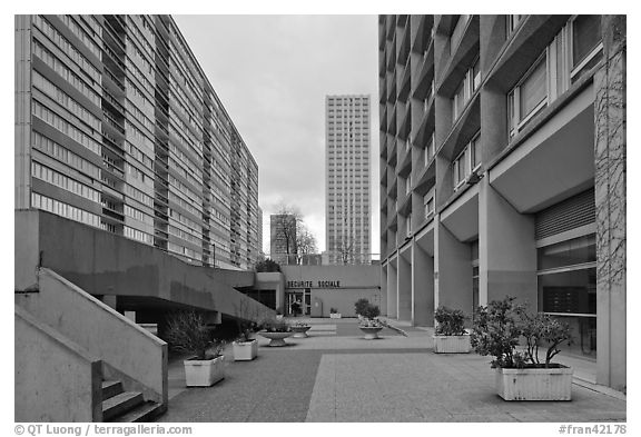 High-rise residential towers, Olympiades. Paris, France (black and white)