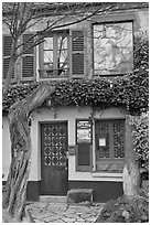 Lapin Agile cabaret facade, Montmartre. Paris, France ( black and white)