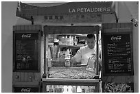 Street food vendor, Montmartre. Paris, France ( black and white)