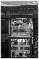 Street food vending booth, Montmartre. Paris, France (black and white)