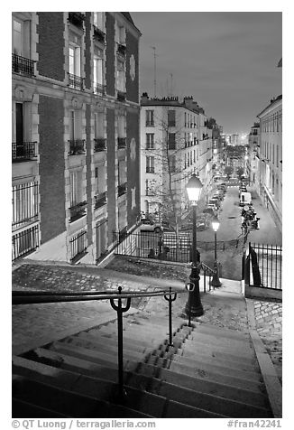 Black And White Picture Photo Stairs And Street Lamps By Night Butte Montmartre Paris France