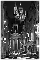 Street, Notre-Dame de Lorette Church, and Sacre-Coeur basilica, Montmartre. Paris, France ( black and white)