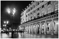 Comedie Francaise Theater by night. Paris, France (black and white)