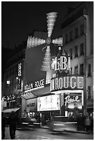 Moulin Rouge (Red Mill) Cabaret by night. Paris, France ( black and white)