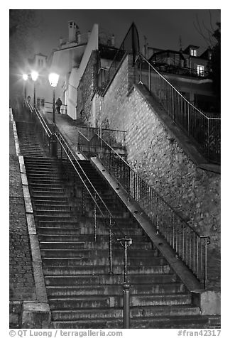 Looking up stairway by night, Montmartre. Paris, France (black and white)