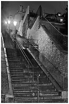 Looking up stairway by night, Montmartre. Paris, France ( black and white)