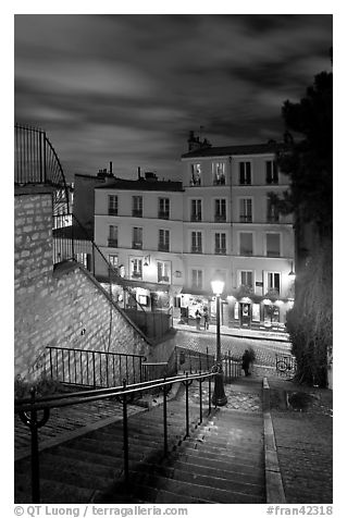 Looking down stairway by night, Montmartre. Paris, France (black and white)