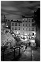 Looking down stairway by night, Montmartre. Paris, France ( black and white)