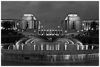 Palais de Chaillot and fountains at night. Paris, France ( black and white)