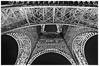 Eiffel Tower structure by night. Paris, France ( black and white)