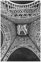 Eiffel Tower structure from below. Paris, France (black and white)
