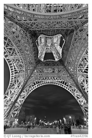 Eiffel Tower from below and Champs de Mars at night. Paris, France (black and white)