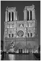 Notre-Dame-de-Paris Cathedral at night. Paris, France (black and white)