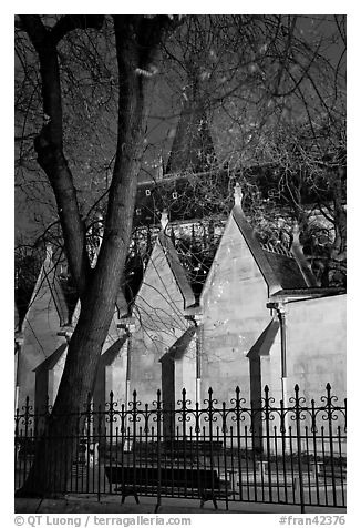Cluny Abbey and park buy night. Quartier Latin, Paris, France (black and white)