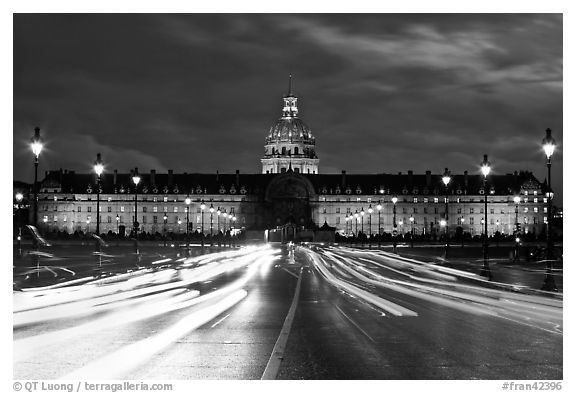 black and white picture photo les invalides hospital and chapel dome with light trails from. Black Bedroom Furniture Sets. Home Design Ideas