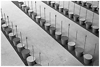 Barrels and sticks,  Roissy Charles de Gaulle Airport. France (black and white)